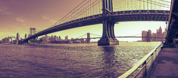 Manhattan Bridge panorama at sunset New York City Royalty Free Stock Images