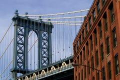 Manhattan Bridge. Manhattan Bridge and red brick building Royalty Free Stock Photos