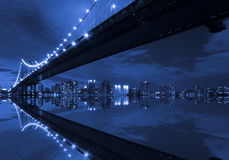 Manhattan Bridge and reflection Stock Photo