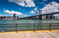 The Manhattan Bridge, seen from Brooklyn, New York. Stock Images
