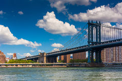 The Manhattan Bridge, seen from Brooklyn, New York. Stock Image