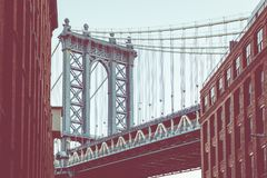 Manhattan Bridge seen from Dumbo, Brooklyn, New York City, USA. Manhattan Bridge seen from Dumbo, Brooklyn, New York City, USA royalty free stock image