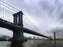 New York - Panorama on the Manhattan Bridge from Brooklyn Stock Photos