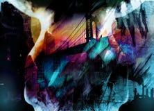 Manhattan bridge. Skull over Manhattan bridge silhouette Royalty Free Stock Photo