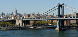 Manhattan Bridge and skyline royalty free stock photos