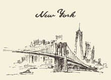 Manhattan bridge Skyline New York US Vector drawn. Royalty Free Stock Images