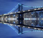 Manhattan Bridge and skyline at Night Stock Photo