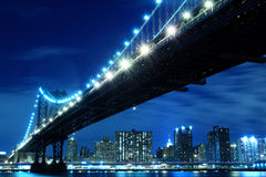 Manhattan Bridge and skyline at Night Royalty Free Stock Photo
