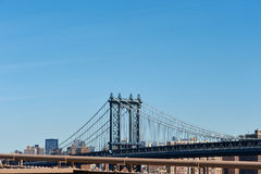 Manhattan Bridge and skyline view from Brooklyn Bridge Stock Photography