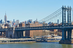 Manhattan Bridge and skyline view from Brooklyn Bridge Royalty Free Stock Image