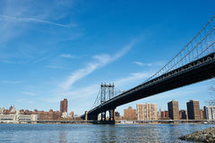 Manhattan Bridge and skyline view from Brooklyn Royalty Free Stock Photos