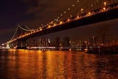 Manhattan Bridge and skyline view from Brooklyn at night Stock Image