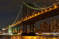 Manhattan Bridge and skyline view from Brooklyn at night Royalty Free Stock Images