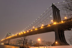 Manhattan Bridge, Snowstorm Stock Photos