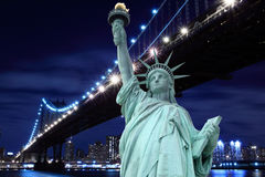 Manhattan Bridge and The Statue of Liberty Royalty Free Stock Photo