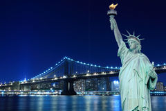 Manhattan Bridge and The Statue of Liberty Stock Photos