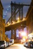 Manhattan Bridge Street view Stock Photos