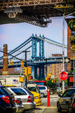 Manhattan Bridge Street View Stock Images