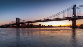 Manhattan Bridge sunrise timelapse. Made from Brooklyn Bridge Park in New York City stock video