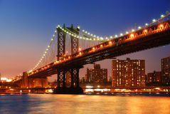 Manhattan Bridge sunset New York City Royalty Free Stock Photo