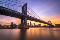 Manhattan Bridge Sunset Royalty Free Stock Photos