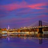 Manhattan Bridge sunset New York NY NYC USA Stock Image