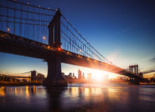 Manhattan Bridge at Sunset Stock Images