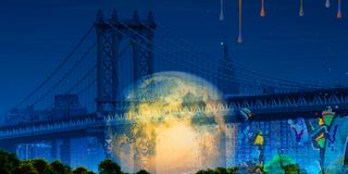 Manhattan bridge. Surreal digital art. Manhattan bridge on New York`s cityscape. Giant moon, pieces of graffiti. Paint drops. Some elements credit NASA Stock Photo