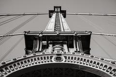 Manhattan Bridge Tower Detail in Black & White, New York. Black and White detail of steel tower of the Manhattan Bridge. Lower Manhattan, New York City Stock Photo