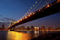 Manhattan Bridge in twilight Royalty Free Stock Photography