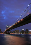 Manhattan Bridge at twilight. Manhattan Bridge and NYC at twilight Royalty Free Stock Photo