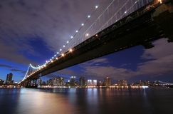 Manhattan Bridge at twilight. Under a dramatic sky Royalty Free Stock Photography