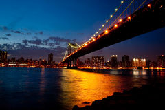 Manhattan Bridge in twilight Stock Image