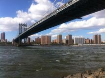Manhattan and Bridge view from Brooklyn Stock Photography