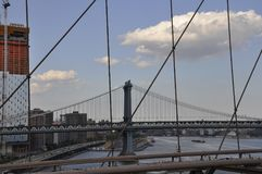 Manhattan Bridge view from Brooklyn Bridge over East River from New York City in United States Stock Photo