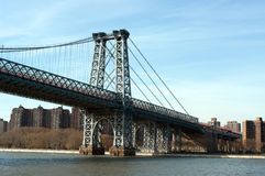 Manhattan bridge viewed from Hudson river Stock Images