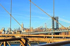 Manhattan Bridge. Views from Midtown and Manhattan Bridge from Brooklyn Bridge stock photos