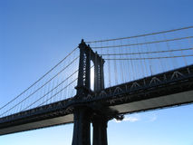 Manhattan Bridge Western Tower, Backlit by Afternoon Sun Stock Photos