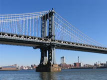 Manhattan Bridge Western Tower and Brooklyn, Landscape View royalty free stock image