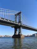 Manhattan Bridge Western Tower and Brooklyn, Portrait View Royalty Free Stock Photography