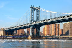 Manhattan Bridge in the winter 2015, NYC Stock Image