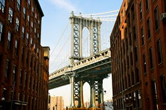 Manhattan Bridge in the winter 2015, NYC Stock Images