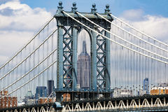 Manhattan Brigde und Empire State Building Stockbild