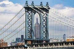 Manhattan Brigde y Empire State Building Imagen de archivo