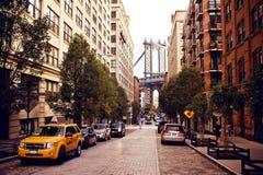 Manhattan bro från den Washington gatan Royaltyfri Bild