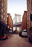 Manhattan bro från den Washington gatan Fotografering för Bildbyråer