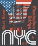 Manhattan bro, New York City, kontur stock illustrationer