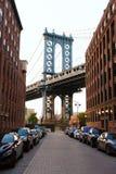 Manhattan bro New York NY NYC från Brooklyn Arkivbild