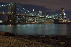 Manhattan and Brooklyn Bridge. Manhattan, New York Skyline and brooklyn bridge shot by night Stock Photos