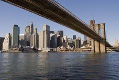 Manhattan and Brooklyn Bridge. Manhattan, New York Skyline and brooklyn bridge Stock Photo